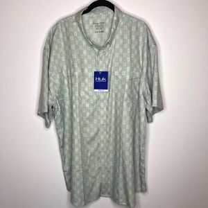 NWT HUK Tide Point Fish Plaid Short Sleeve Shirt